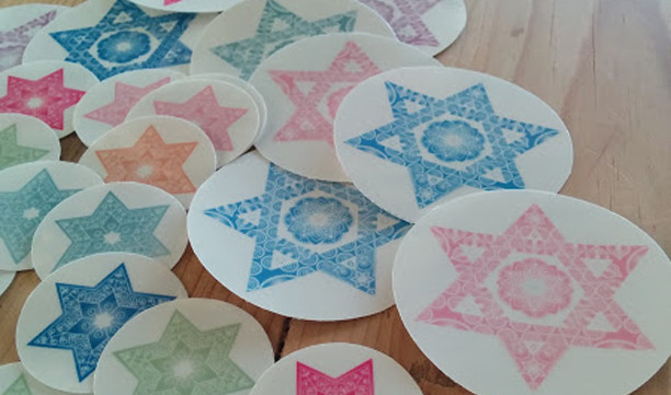Jewish Star & Mandalas Art Craft Round Labels! Decorating Ideas-