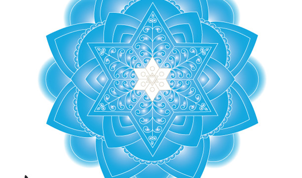 Light Blue Jewish Mandala Wall Art Print-Meditative Judaica Gift