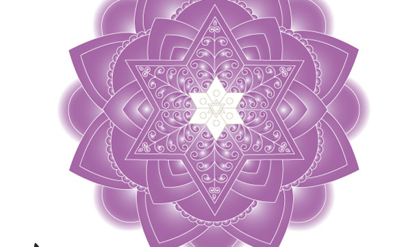 Purple Jewish Mandala Wall Art Print-Meditative Judaica Gift