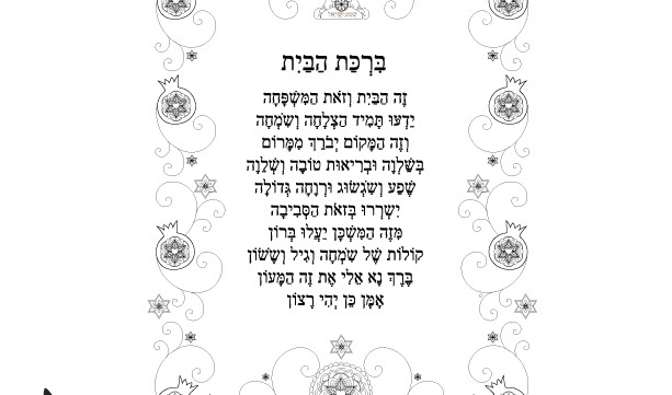 Birkat HaBayit Menorah Prayer-Jewish Home Blessing Print-Hebrew