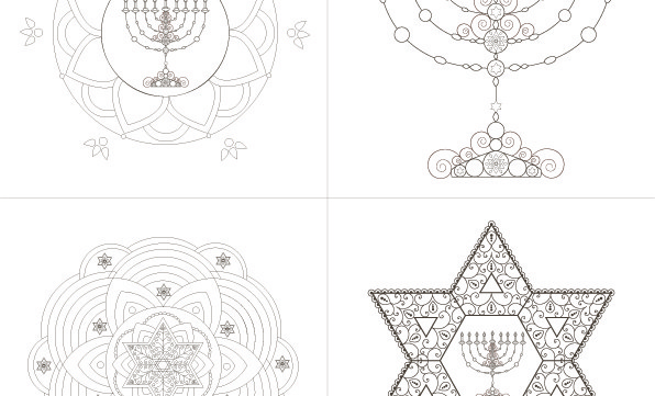 Hanukkah Greeting Cards-Cards to print Coloring