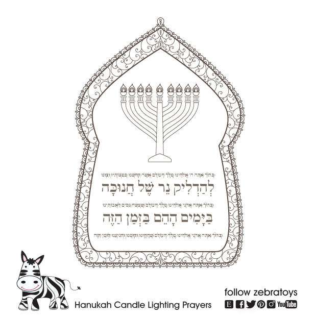 picture regarding Hanukkah Prayer Printable named Hanukkah Menorah Candles Blessings Printable-Siddur Prayers