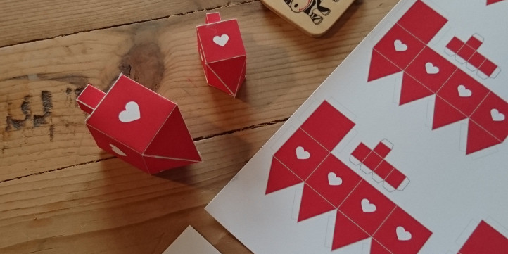 Miniature and Tiny Red Dreidels DIY Paper Crafts Decorations with Hearts-Party Printable-Arts Crafts Activities-How to Make-INSTANT DOWNLOAD