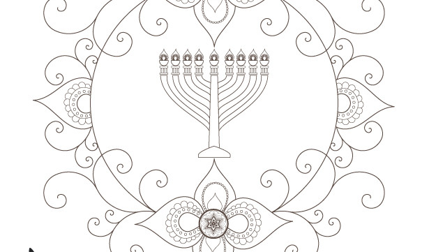 Hanukkah Menorah Crafts Printable-Hanukiah Coloring Page-Jewish Soul Art-Hanukkah Menorah Decorations-Festival of Lights-INSTANT DOWNLOA