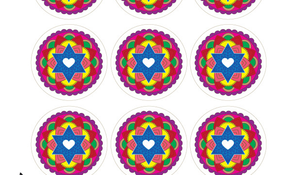 "Star of David Mandalas-2.5"" Round Tags-Scrapbooking Printable-Labels-Gift tags-Jewish Art Projects-DIY Arts Paper Crafts-INSTANT DOWNLOAD"