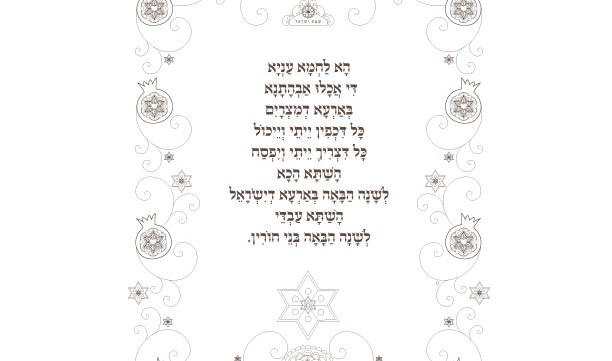 Ha Lachma Anya Blessing-1 Coloring Printable Page-Jewish Holiday Print-Seder Plate-Hebrew Haggadah-Scrapbooking Supplies-INSTANT DOWNLOAD