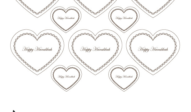 Happy Hanukkah Hearts Gift Tags Printable-Holiday Crafting-Jewish Art projects-Scrapbooking Crafts-Chanukkah Paper Crafts-INSTANT DOWNLOAD