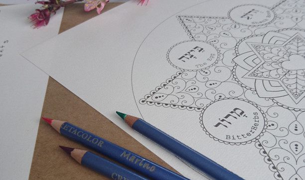 Personalized Jewish Art-Passover Coloring Book-5 Printable Designs-Crafts Arts Supplies-Pesach Custom Order-INSTANT DOWNLOAD by @zebratoys