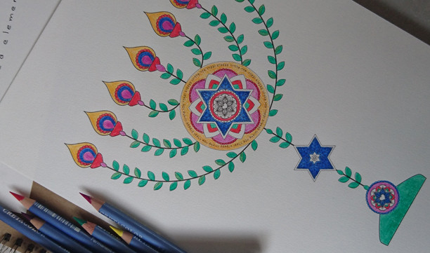 Stars of David Menorah-Passover Coloring Page-1 Printable-Golden Spiral-Crafts Supplie-Jewish Aancient Art-INSTANT DOWNLOAD by @zebratoys