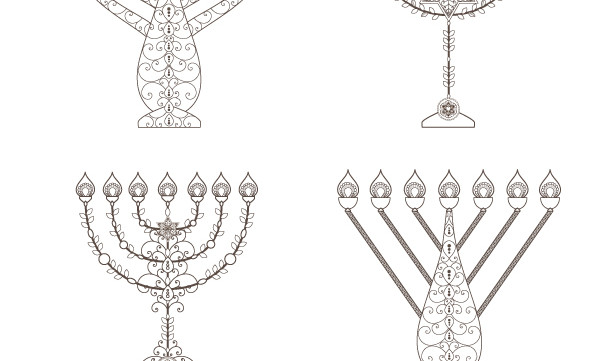 Personalized Menorah-Sacred Jewish Art-1 Printable Coloring Page-Custom Order Menorahs-Spiritual Elements-INSTANT DOWNLOAD by @zebratoys