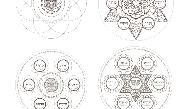 Personalized Passover Seder Plate-Sacred Jewish Art-1 Printable Coloring Page-Custom Order Pesach-Holiday-INSTANT DOWNLOAD by @zebratoys
