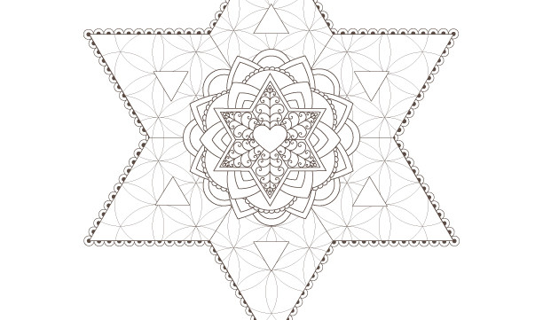 Star of David-Flower of Life-Passover Coloring Page-1 Printable Design-Jewish Star-Craft Supplies-Magen David-INSTANT DOWNLOAD by @zebratoys