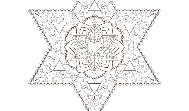 Star of David-Golden Spiral-Passover Coloring Page-1 Printable Design-Jewish Star-Crafts Supplies-Magen David-INSTANT DOWNLOAD by @zebratoys