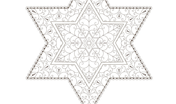 Stars of David-Golden Spiral-Passover Coloring Page-1 Printable Design-Jewish Star-Craft Supplies-Magen David-INSTANT DOWNLOAD by @zebratoys