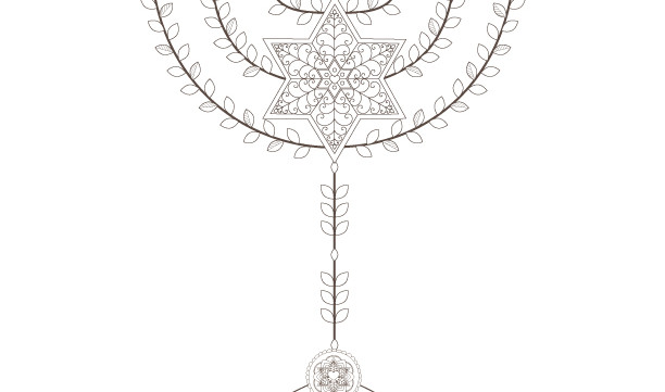 The Star of David Menorah-Passover Coloring Page-1 Printable-Golden Spiral-Crafts Supplie-Jewish Aancient Art-INSTANT DOWNLOAD by @zebratoys