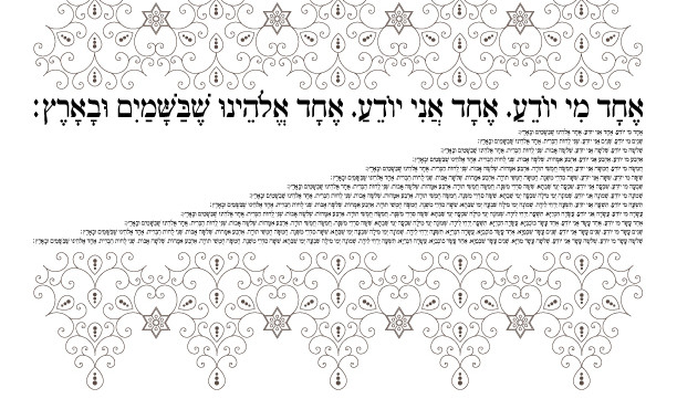 Echad Eloheinu Haggadah Song-1 Passover Printable Page-Jewish Holiday Hebrew Coloring-Seder Pesach Print-INSTANT DOWNLOAD by @zebratoys