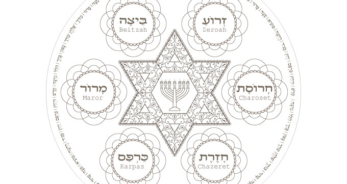 graphic about Printable Arts and Crafts called Menorah Star Seder Plate-Pover Coloring Webpage-1 Printable