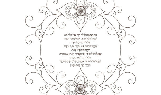 Ma Nishtana Haggadah Song-1 Passover Printable Page-Jewish Holiday Hebrew Coloring Print-Seder Pesach Crafts-INSTANT DOWNLOAD by @zebratoys