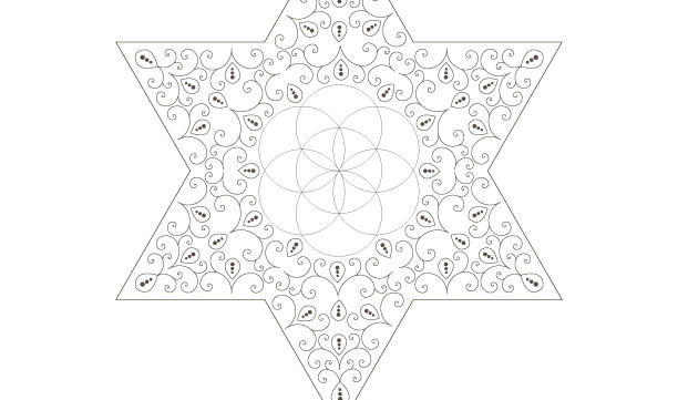 Golden Spiral Seed Of Life Star of David-Sacred Geometry Art-Energy Healing Mandala-Coloring Page Printable-INSTANT DOWNLOAD by @HALELUYA
