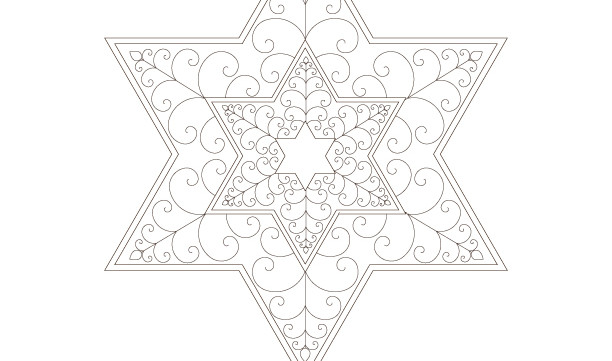 Golden Spiral Stars of David-Sacred Geometry-Energy Healing Mandala-Coloring Page Printable-INSTANT DOWNLOAD by @HALELUYA Jewish Soul Art