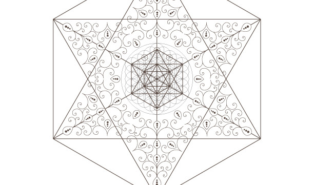 Flower Of Life-Kabbalah Tree of Life-Golden Spiral-Star of David-Octahedrons-Sacred Geometry Art-Coloring Page-INSTANT DOWNLOAD by @HALELUYA